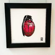 Hanging up #spraypaint #graffiti #stencil #original #acrylic #roses #framed #signed