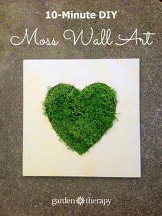 Make this Moss Heart Wall Art in 10 Minutes! Moss Wall Art, Moss Art, Diy Wall Art, Framed Wall Art, Wood Picture Frames, Picture On Wood, Plantador Vertical, Moss Decor, Heart Wall Art