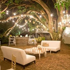 A chic seating area for outdoor receptions. Has such a warm and welcoming feel to it. #layeredny  Woodland Lounge Area