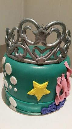 Under the sea themed birthday cake  - with a crown