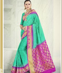 04bf85efee2de3 Buy Sea Green Banarasi Silk Saree With Blouse 71239 with blouse online at  lowest price from