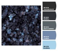 Blue Pearl granite tile for the top of the makeup vanity my hubby is building for me Blue Granite Countertops, Granite Tops, Granite Kitchen, Kitchen Counters, Epoxy Countertop, Kitchen Cabinets, Stone Benchtop, Kitchen Benchtops, Blue Pearl Granite