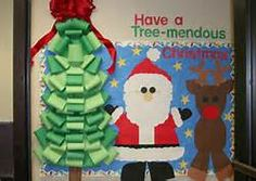 christmas bulletin board ideas - Kids make yellow and black presents and ornaments