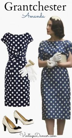 Grantchester fashion. Amanda's polka dot dress in stunning! Recreate this look at VintageDancer.com