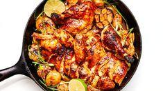 Slow-Roast Gochujang Chicken Recipe - This isn't the crisp-skinned, high-heat-roast chicken you're probably familiar with. Roasted Chicken And Potatoes, Roast Chicken, Rotisserie Chicken, Roasted Garlic Cloves, Kitchen Twine, Chicken Skin, Chicken Pasta, Chicken Thighs, Garlic Head