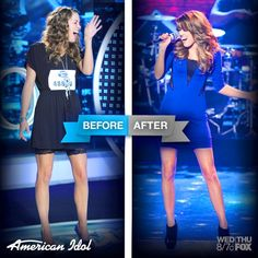 """Check out Angie Miller before and after! Full package, right? :"""">"""
