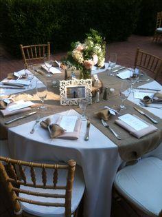 Rustic wedding tables are just amazing :) #Burlaptablerunners #beautiful Check us out at www.artofabric.com