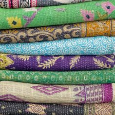 Vintage saris and quilted