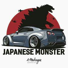 Japanese Monster (grey)' T-Shirt by OlegMarkaryan T-shirt for true fans Nissan GTR. Nissan Gtr Nismo, Gtr R35, Skyline Gtr R34, Nissan Skyline Gt, Japanese Monster, Auto Retro, Bmw Boxer, Japan Cars, Automotive Art
