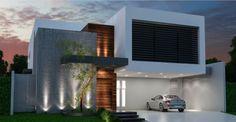 Projetos | Fernando Farinazzo Arquitetura House Front Design, Modern House Design, Contemporary Architecture, Architecture Design, Modern House Facades, Design Exterior, House Elevation, Facade House, Design Case