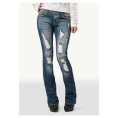 AMETHYST JEANS Destructed Womens Bootcut Jeans ❤ liked on Polyvore featuring jeans, white boot cut jeans, white bootcut jeans, distressed jeans, destroyed jeans and bootcut jeans