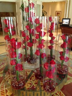 Beautiful red roses in tall cylinders make a beautiful statement at the Ritz-Carlton Spa. If this look doesn't say luxury…what does?