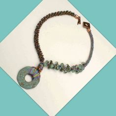 NECKLACE Asymmetrical Kumihimo and Verdigris Pendant  by TealEves, $125.00
