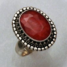 Sterling Silver Ring with 6.20 ct Oval Genuine Ruby Lot 1007