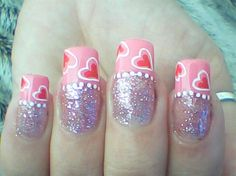 Cute Pink Hearts Valentine´s Day - Nail Art Gallery by NAILS Magazine