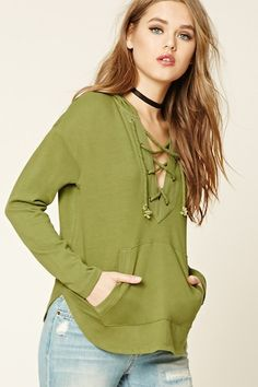 a1da3a2ad1b Lace-Up Front Hoodie Forever 21