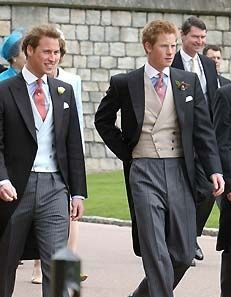 Old fashioned and traditional daytime men's formal wear attire consisting of a tailcoat or cutaway jacket, waistcoat/vest, and striped trous. Wedding Men, Wedding Suits, Wedding Attire, Morning Coat, Morning Dress, Groom Attire, Groom And Groomsmen, Cutaway, Wedding Morning Suits