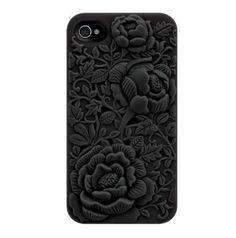 Black Rose Embossing Design Case for iPhone 4/4S