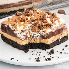 You start with a crunchy, OREO-cookie crust, then top it with a cream cheese-peanut butter layer that is smooth and out of this world amazing. Next, top it with instant chocolate pudding, Cool Whip, and peanut butter chocolate candies, as well as melted peanut butter for extra good measure! This easy no-bake chocolate peanut butter lasagna is bursting with peanut butter chocolate goodness. Its light, creamy, and incredibly dreamy but isnt overpowering in the flavor department.