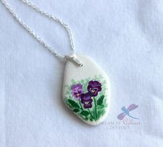 Painted Sea Pottery Pendant Pansies by IDreaminColourDoYou on Etsy Pansies, Quilling, Rocks, Stones, Pottery, Sea, Jewellery, Unique Jewelry, Pendant