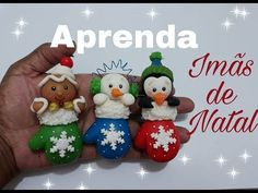 IMAS DE NATAL ( video 4) / ELISANGELA MOTTA - YouTube Polymer Clay Christmas, Diy Christmas Ornaments, Holiday Crafts, Christmas Decorations, Polymer Clay Ornaments, Polymer Clay Crafts, Diy Clay Earrings, Cute Clay, Foam Crafts
