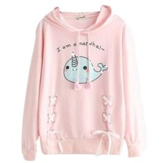 This adorable baby narwhal hoodie is made of soft material, and in the sweetest pastel shades! Super kawaii! Narwhals are the unicorns of the sea! Cute corset style lace up ties along the sides with sweet ribbons! Perfect for embracing your cute and little side while being cozy and warm! One size fits most kawaii babes Harajuku Fashion, Kawaii Fashion, Cute Fashion, Fashion Outfits, Style Fashion, Fashion Styles, Hoodie Outfit, Hoodie Jacket, Cute Narwhal