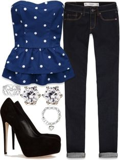 inspired outfit with peplum strapless navy blue top with white polka dots from Abercrombie    Abercrombie & Fitch skinny jeans / Brian Atwood high heel / Juicy Couture  jewelry / Sterling silver ring, $48 / GUESS bangle bracelet