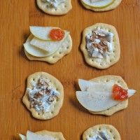 "Schiacciate with   - pear and grana cheese    - gorgonzola cheese and walnuts topping   by ""La Bottega di Olivia"""