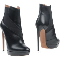 Alaïa Ankle Boots ($850) ❤ liked on Polyvore featuring shoes, boots, ankle booties, black, black leather bootie, black stilettos, black bootie boots, black leather booties and ankle boots