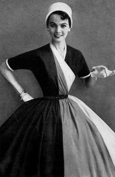 1954 Model in tri-tone broadcloth dress by Kay Windsor