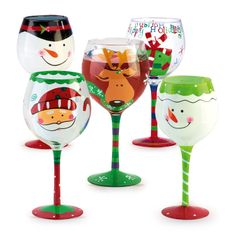 Old Time Pottery Homepage - The Home Store with More® Wine Glass Crafts, Wine Craft, Wine Bottle Crafts, Decorated Wine Glasses, Hand Painted Wine Glasses, Decorated Bottles, Painted Bottles, Christmas Wine Glasses, Christmas Wine Bottles