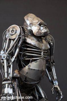 Mechanical metal gorilla - hand over hand