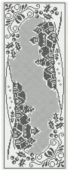 Filet Crochet Charts, Crochet Stitches, Cross Stitch Kits, Counted Cross Stitch Patterns, Crochet Table Runner Pattern, Fillet Crochet, Crochet Curtains, Christmas Crochet Patterns, Canvas Patterns