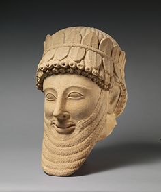 Limestone head of a man  Period:     Archaic Date:     early 5th century B.C. Culture:     Cypriot Medium:     Limestone