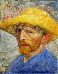 Van Gogh ~ Self Portrait with Straw Hat  Painting, Oil on Canvas  Paris: Summer, 1887  The Detroit Institute of Arts  Detroit, Michigan, United States of America, North America  F: 526, JH: 1309