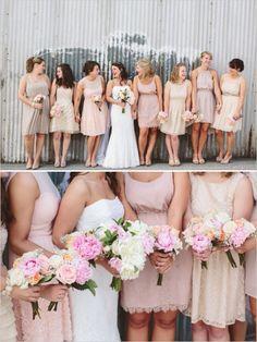 light pink mismatched bridesmaid dresses  http://www.weddingchicks.com/2013/10/21/industrial-wedding-2/