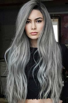 40 Stunning Silver Hair Color Ideas for Long Hair in Looking for best hair color trends to wear in See here the amazing ideas of silver hair colors and hairstyles for long hair to use nowadays. Transform you looks by visiting these awesome col Silver Grey Hair, Hair Color For Black Hair, Cool Hair Color, Long Grey Hair, Black Silver, Silver Nails, Black And Grey Hair, Grey Hair Under 40, Black Nails
