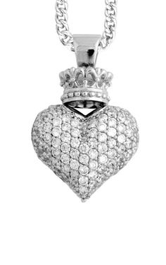 b55675064 Large 3D Pave CZ Crowned Heart Pendant