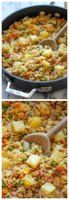Rice Pineapple Fried Rice ~ A quick and easy weeknight meal that's so much cheaper, tastier and healthier than take-out!Pineapple Fried Rice ~ A quick and easy weeknight meal that's so much cheaper, tastier and healthier than take-out! Veggie Recipes, Asian Recipes, Cooking Recipes, Healthy Recipes, Shrimp Recipes, Recipes Dinner, Healthy Quick Meals, Healthy Lunches, Pie Recipes