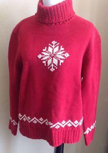 Lauren Ralph Lauren Sweater Women's Snowflake Knit Red Turtleneck L/S Medium
