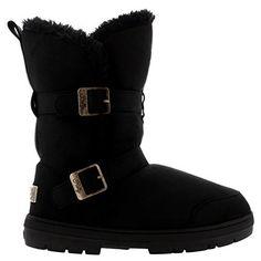 Womens Twin Buckle Short Fur Lined Waterproof Winter Rain Snow Boots, http://www.amazon.com/dp/B00KW9BKOE/ref=cm_sw_r_pi_awdm_9S-Gub1KS1JJW