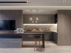 APARTMENT on Behance #CasasModernas Kitchen Room Design, Home Decor Kitchen, Kitchen Living, Kitchen Interior, Interior Design Living Room, Modern Interior, Living Room Designs, Küchen Design, House Design