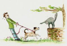 Comics für Kinder: Hund und Katze streiten beim Spaziergang | Reimix Illustration von Lona Azur