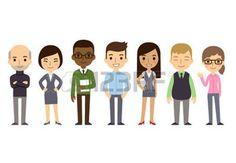 spécialiste: Ensemble de divers gens d'affaires isolé sur fond blanc. Nationalités et styles vestimentaires différents. Style de bande dessinée plat mignon et simple.