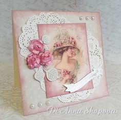 Handmade Birthday Card Female, Shabby Roses Chic, pearls, wife, mother, sister