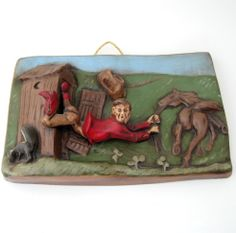 SERIES OF 4 COMICAL WESTERN WALL MOUNT: THE SKUNK AT THE OUTHOUSE