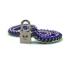 Men's Slave Collar with Joker Inspired Padlock by BrainofJen
