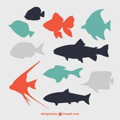 Silhuetas de peixes lisos Vetor grátis …