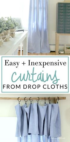 Save TONS of money on drapery with these DIY no-sew drop cloth curtains. Make easy and inexpensive curtains and a DIY curtain rod on a tiny budget. Farmhouse style curtains and wood farmhouse drapery (Diy Curtains) No Sew Curtains, Drop Cloth Curtains, Boho Curtains, How To Make Curtains, Rustic Curtains, Curtains Living, Country Curtains, French Curtains, Double Curtains