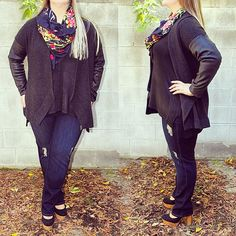 Cooler fall weather is coming this weekend! Come try on this outfit: @eileenfisherny cardigan, @carmakoma knit top, @jamesjeans distressed jeans and this gorgeous #mickylondon scarf!  #plussize #plussizefashion #plussizestyle #psfashion #psstyle #psblogger #fatshion #effyourbeautystandards #honormycurves #curves #curvy #torontofashion #primaala #beautyislimitless #plussizeootd #psootd #merino #yak #leather #scarf #sweaterweather #distressedjeans #shopping #excuses #treatyoself